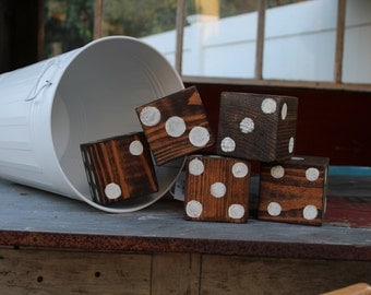 Giant Wooden Dice with carry bucket