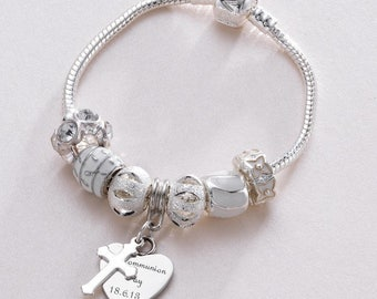 Personalised Bracelet with Engraved Heart Charm, Silver and White Charm Beads, European Style.