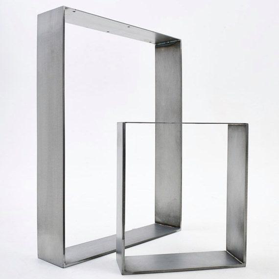 2 x Flat Steel Table Legs - Solid Steel