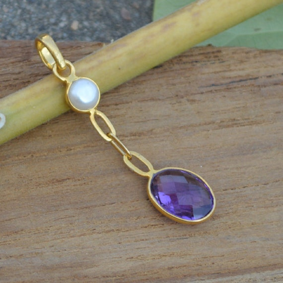 Natural Purple Amethyst Pendant ,  Solid Sterling Silver Gold Overlay South Sea Pearl Pendant, Gift Pendant, Sterling Silver Jewelry