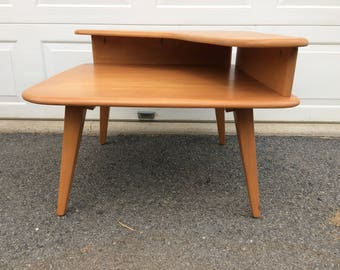 Heywood Wakefield Corner Table REFINISHED in CHAMPAGNE CM370G Aristocraft