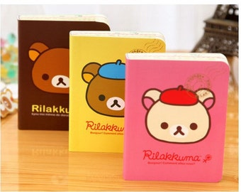 Rilakkuma Mini Notebook - Notebook With Designed Pages - Bear Notebook - Kawaii Notebook - Rilakkuma Mini Memo Pad