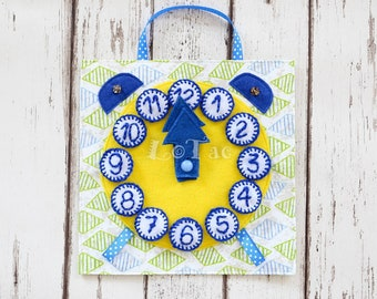 Clock quiet tablet/Quiet book page/Busy book page/Educational toy/Fabric activity toy