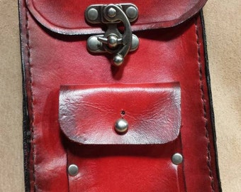 Two-tone red/black steampunk cellphone pouch