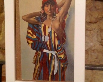 Small white framed vintage postcard exotic african woman girl 1914