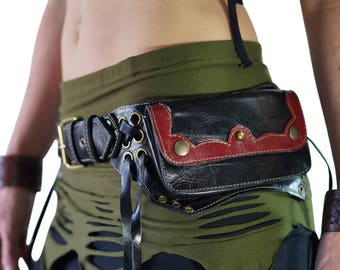 LILL - Handmade Leather Utility Belt With Pockets Renaissance Hip Pouch Belt Festival Burning Man Belt Steampunk Belt-  Black/Red