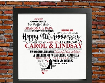 Personalized 40th wedding anniversary - ruby wedding anniversary, 40th wedding anniversary gift, 40th anniversary gift, gifts for parents