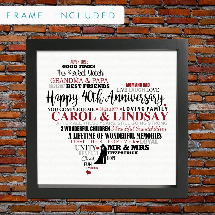 wedding gift parents wedding gifts for parents Personalized 40th wedding anniversary ruby wedding anniversary 40th wedding anniversary gift 40th anniversary gift gifts for parents