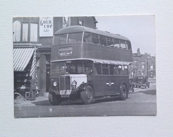 Photo of Old Bus Kirkstall Road Leeds Yorkshire, Vintage Transport Picture Old Advertising Gold Cup Ale. Robert F Mack
