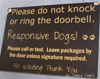 Black Responsive Dogs Do Not Knock Warning No Soliciting Door Sign