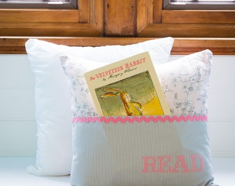 Pocket Reading Pillow - Birds on Branches and Birdcages Pink and Gray