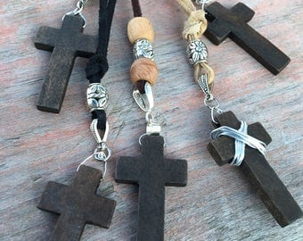 Reiki Infused Wooden Cross Necklace