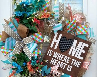 Sale/Everyday Spring Wreath, Home Is Where the Heart Is Wreath,  Floral Spring Wreath, Deco Mesh Wreath, Front Door Everyday Wreath