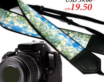 Daisies  Camera strap.  Flowers camera strap.  DSLR / SLR Camera Strap. Camera accessories.