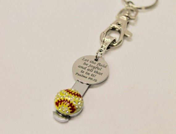 Softball Bible Verse Keychain, Psalms 29 12 Bible Verse Gift, Softball Mom Gift, Gift For Her, Softball Player Gift, Wife Jewelry Gift