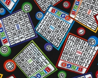 Bingo Games on Black Cotton Woven by Timeless Treasures