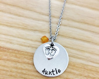 Aunt necklace, gifts for aunts, auntie necklace, personalized necklace, hand stamped jewelry