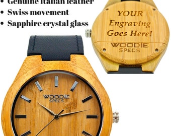 Handcrafted men's bamboo watch. Upgraded with sapphire glass, Swiss movement, and black Italian leather. FREE custom engraving!