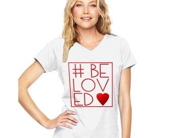 Valentine's #BeLoved Modern Fit V-Neck Ladies' T-Shirt