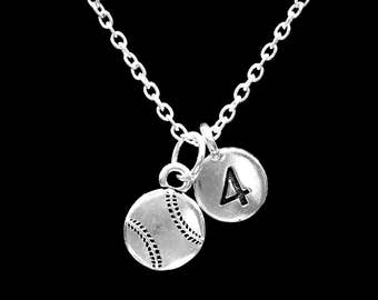 Baseball Number Necklace, Softball Necklace, Sports Baseball Mom Gift Necklace