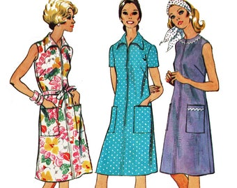 Short Sleeve Sleeveless House Dress Pattern Zip Front Casual Dress Pattern Vintage 1970s Sewing Pattern Simplicity 6078 Size 10 Bust 32.5