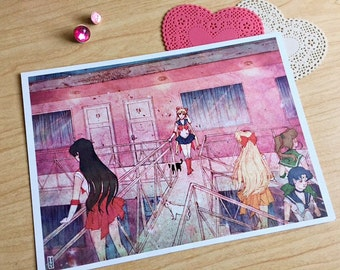 Sailor Scouts at the Pink Motel Print