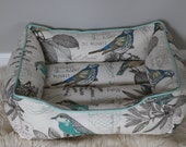 Handcrafted dog or cat bed. Made for your best friend. Style: Natural & Turquoise Lansing Breeze