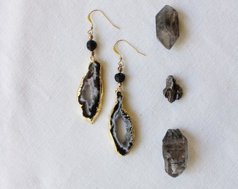 Hawaiian Dream / Black Lava Stone with 24k Gold Plated Natural Agate Druzy & Gold Filled Ear Wires