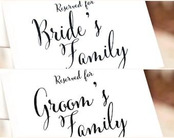 Printable Reserved Sign Bundle, reserved card, wedding ceremony decor, reserved seating wedding signage