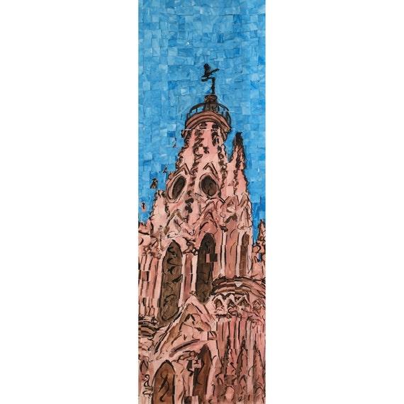 """San Miguel de Allende, Mexico -Parroquia San Miguel-Architectural Art: 8""""x24"""" Original Painting"""