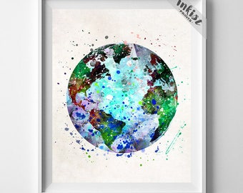 Earth Print, Earth Watercolor, Earth Painting, Globe Poster, Globe Print, Nursery, Illustration, Watercolour, Wall Art, Dorm Decor