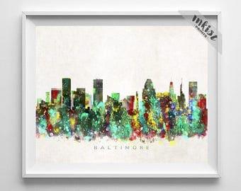 Baltimore Skyline Print, Baltimore Poster, Maryland Art, Cityscape, Watercolor Art, Home Decor, Wall Art, City Skyline, Christmas Gift