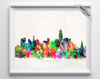 Bangkok Skyline, Thailand Print, Watercolor Painting, Thailand Art, Cityscape, City Poster, Home Decor, Wall Decor, Christmas Gift