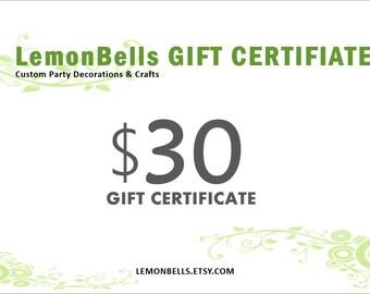 30 DOLLARS  LemonBells Gift Certificate