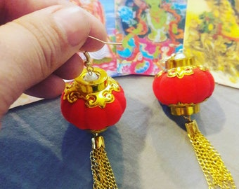 SALE ITEM 30 % off Chinese lantern earrings