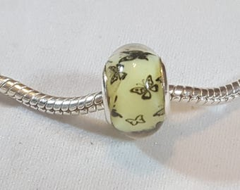 Butterfly Design on Yellow Resin Bead  Fits all Designer and European Charm Bracelets*