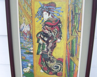 Abstract Asian Geisha Girl,Contemporary Art,Bamboo,Cranes,Framed Print,NO GLASS,Oriental Decor