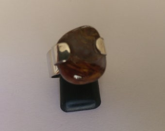 Handmade Pietersite and 925 Sterling silver ring adjustable.