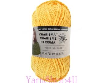 YELLOW Bulky Charisma Loops and Threads Yarn. Deep Yellow Chunky Yarn. Soft Acrylic yarn Great for Hat, Scarf, Afghan, Loom. 3.5oz 109yds