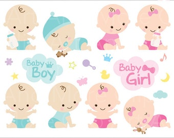 Boy and girl clipart  Etsy