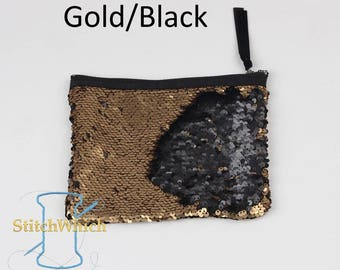 Black and Gold Reversible Sequin Clutch