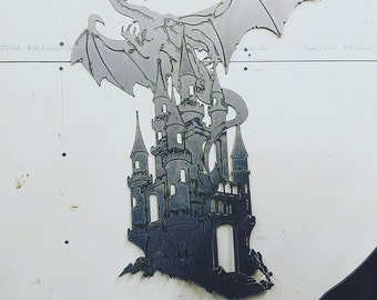 Dragon Castle Wall hanger CNC metal art.