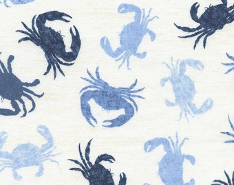 Blue Crab Fabric, Timeless Treasure Fabric, Beach C3501 Ivory, Crab Quilt Fabric, Nautical Fabric, Ocean Fabric, Cotton