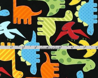Dinosaur Fabric, Ann Kelle, Robert Kaufman 11506 195 Bright, Urban Zoologie, Dinosaur Quilt Fabric, Red, Blue, Green, Orange, Cotton