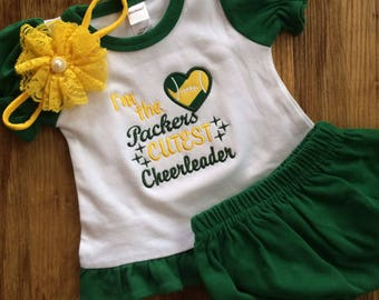 SALE! Embroidered Packers outfit, Packers baby gift, Packers Cheerleader
