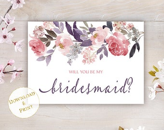 Printable Will You Be My Bridesmaid Card, Bridesmaid Proposal Card, Watercolor Flowers Plum Gray Blush Pink, A7 Envelope Size