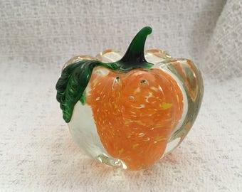 Lenox Hand Blown Art Glass Pumpkin Paperweight, Autumns Brilliance, Autumn Art Glass, Pumpkin Paperweight, Art Glass, Lenox  Art Glass