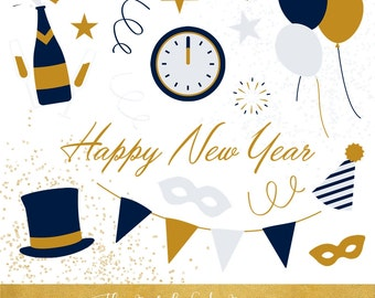 Happy New Year Clipart Set - Party Elements - INSTANT DOWNLOAD - 30 .PNG Images