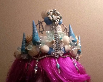 Blue Mermaid Crown with real shells and sand