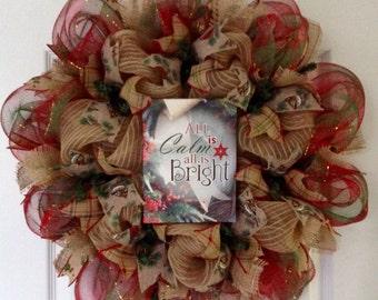 All Is Calm All Is Bright Christmas Deco Mesh Wreath Handmade
